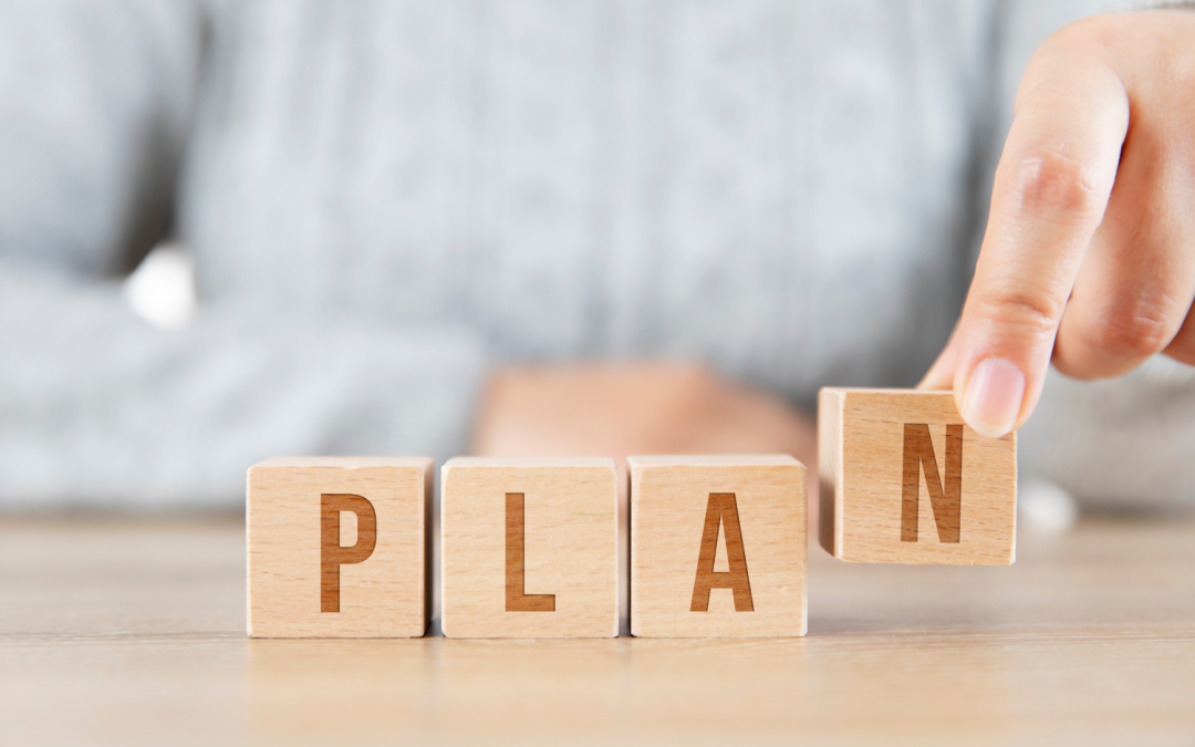 the word plan spelled out in boxes - home organizing plan